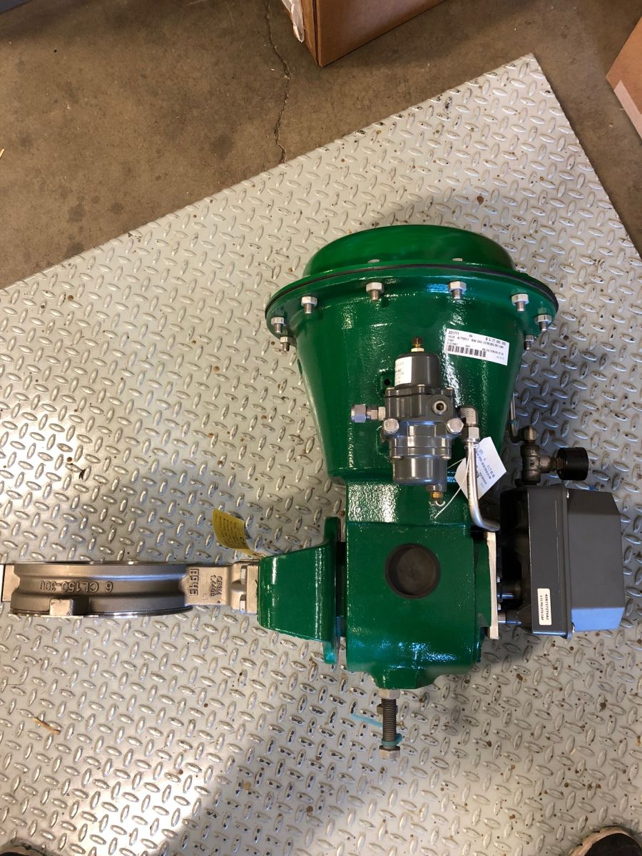Fisher 8580 Butterfly Valve 6in Class 150-300 W/ Positioner And Actuator
